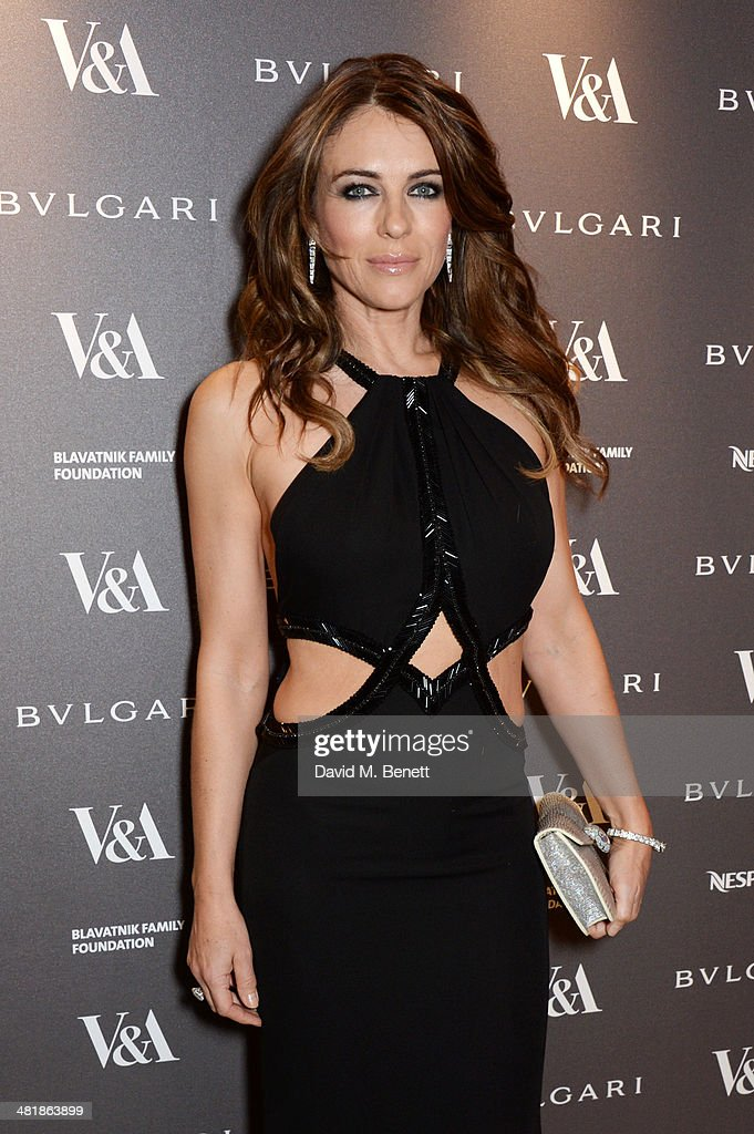 Elizabeth Hurley attends a private dinner celebrating the Victoria and Albert Museum's new exhibition 'The Glamour Of Italian Fashion 1945 - 2014' at Victoria and Albert Museum on April 1, 2014 in London, England.