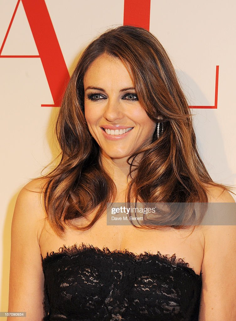 Elizabeth Hurley attends a private view of 'Valentino: Master Of Couture', exhibiting from November 29th, 2012 - March 3, 2013, at Somerset House on November 28, 2012 in London, England.