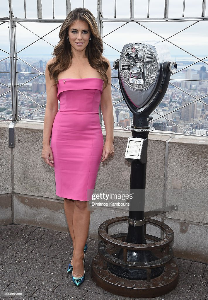 <a gi-track='captionPersonalityLinkClicked' href=/galleries/search?phrase=Elizabeth+Hurley&family=editorial&specificpeople=201731 ng-click='$event.stopPropagation()'>Elizabeth Hurley</a> attends <a gi-track='captionPersonalityLinkClicked' href=/galleries/search?phrase=Elizabeth+Hurley&family=editorial&specificpeople=201731 ng-click='$event.stopPropagation()'>Elizabeth Hurley</a> and William P. Lauder Light The Empire State Building Pink at The Empire State Building on October 1, 2015 in New York City.