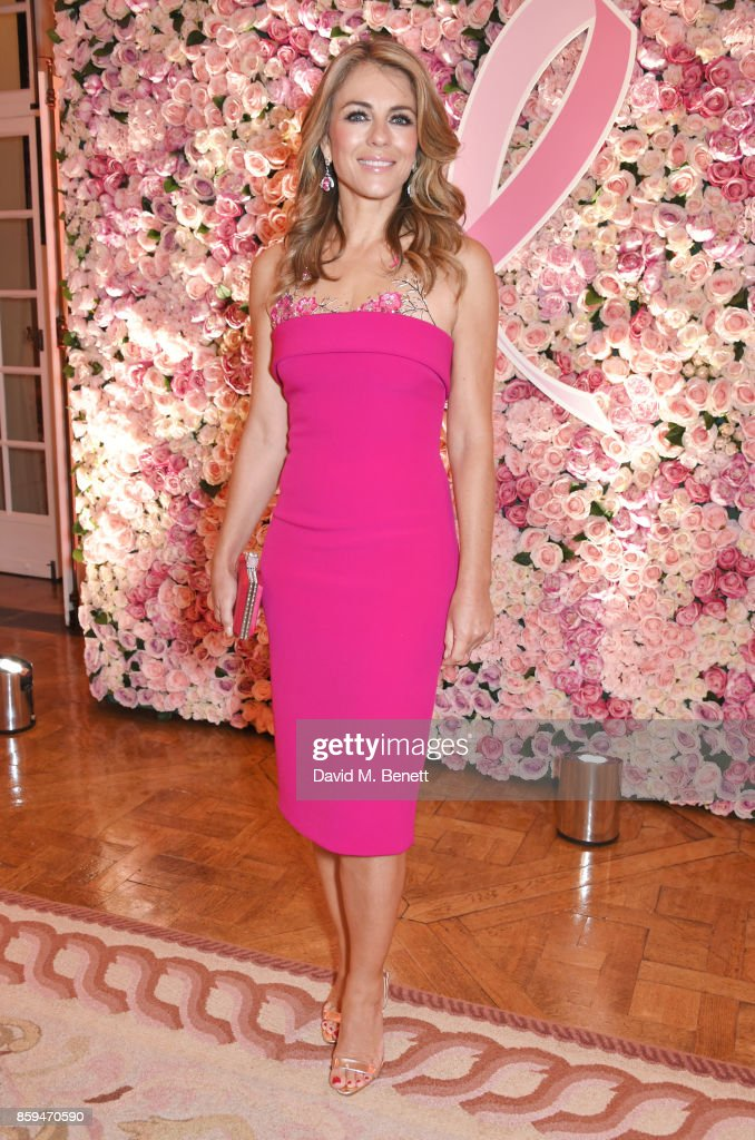 Elizabeth Hurley attends the 25th Anniversary of the Estee Lauder Companies UK's Breast Cancer Campaign at the US Ambassadors Residence, Winfield House, Regents Park on October 9, 2017 in London, England.