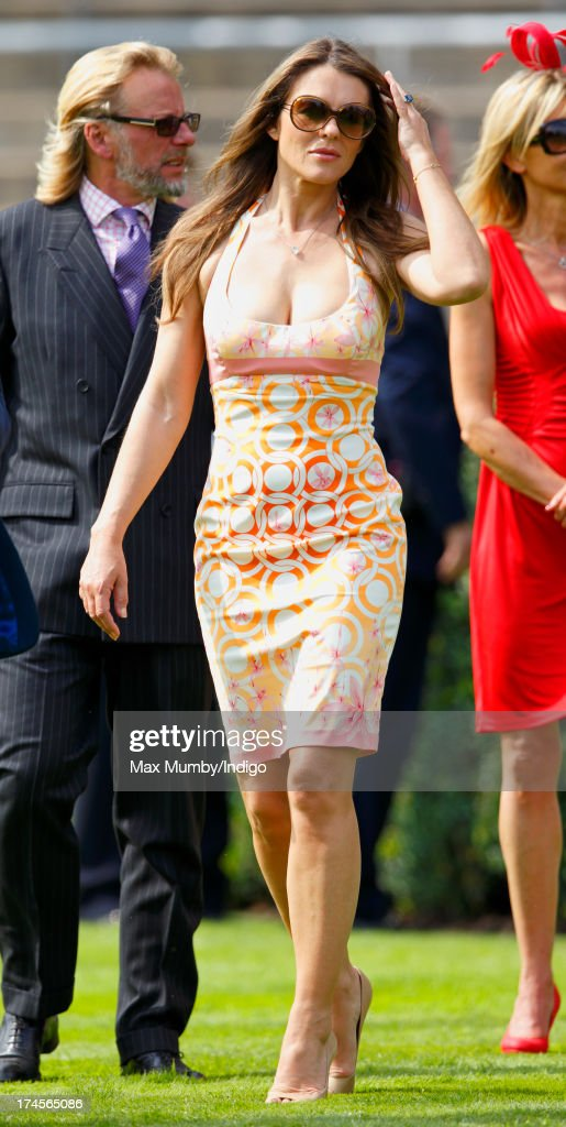 Elizabeth Hurley attends the Betfair Weekend, featuring the King George VI and Queen Elizabeth Stakes, at Ascot Racecourse on July 27, 2013 in Ascot, England.