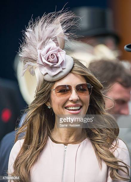 Elizabeth Hurley attends the Epsom Derby at Epsom Racecourse on June 6 2015 in Epsom England