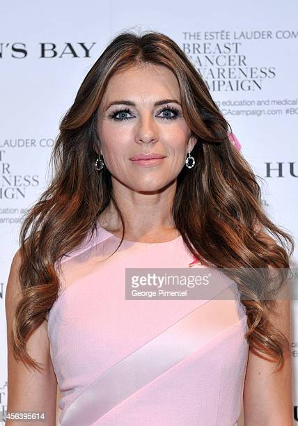 Elizabeth Hurley attends the Estee Lauder Companies Breast Cancer Awareness Campaign VIP Reception at The Hudson's Bay on September 29 2014 in...