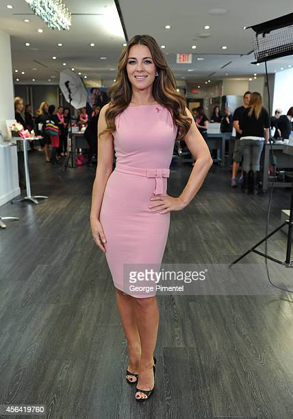 Elizabeth Hurley attends the Estee Lauder Companies Breast Cancer Awareness Campaign Hear Our Stories Share Yours Event at Arcadian Studio on...