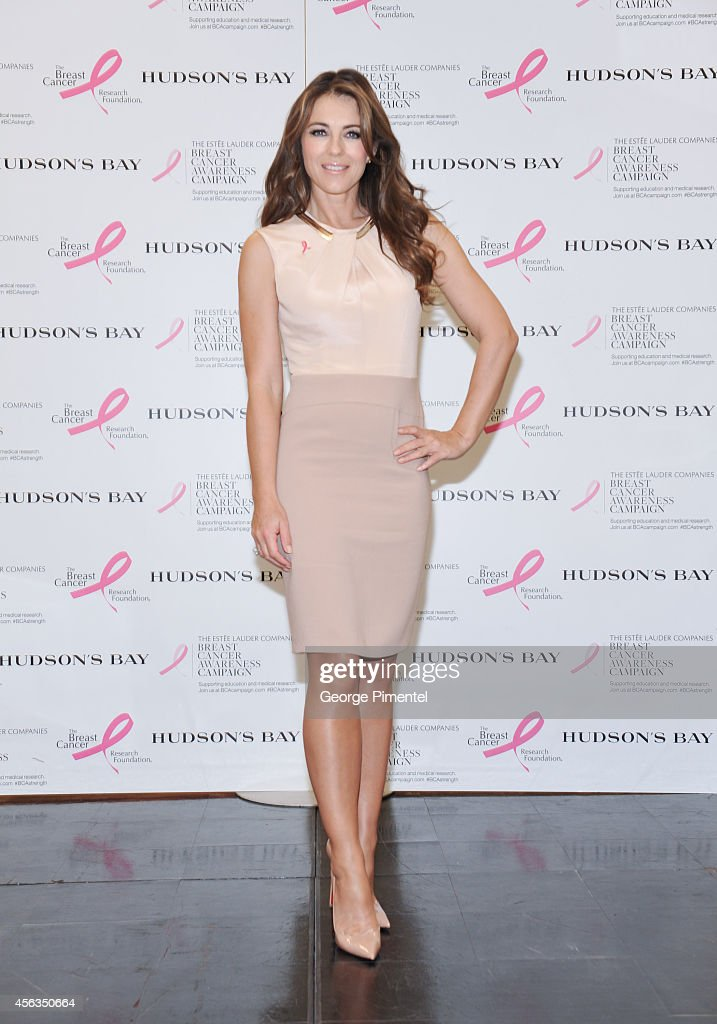 Elizabeth Hurley attends the Estee Lauder Companies Employee Rally in Toronto at The Hudson's Bay on September 29 2014 in Toronto Canada