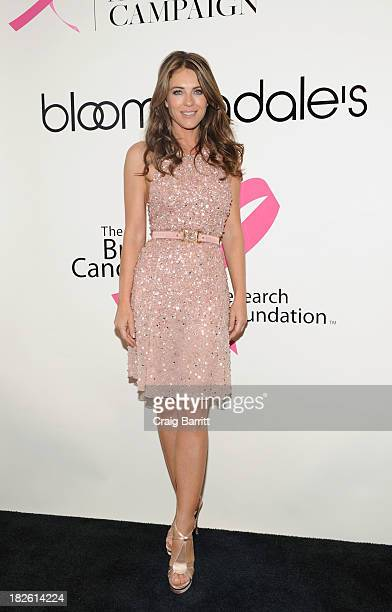 Elizabeth Hurley attends the Estee Lauder We're Stronger Together Celebrating Unity in the Fight Against Breast Cancer Event at Bloomingdale's on...