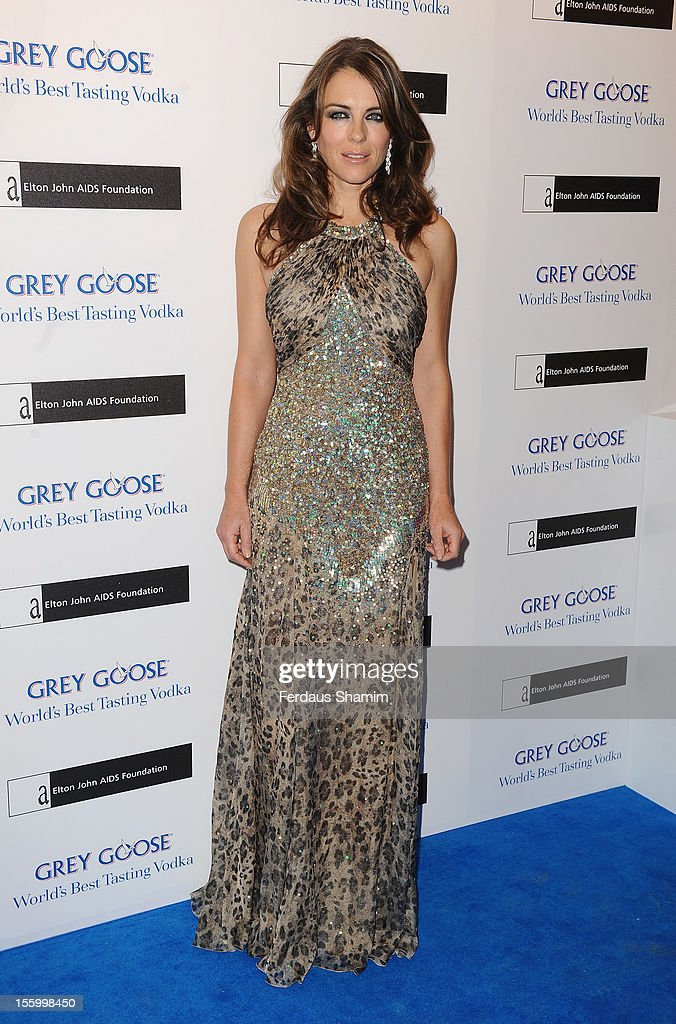 Elizabeth Hurley attends the Grey Goose Winter Ball at Battersea Power station on November 10, 2012 in London, England.