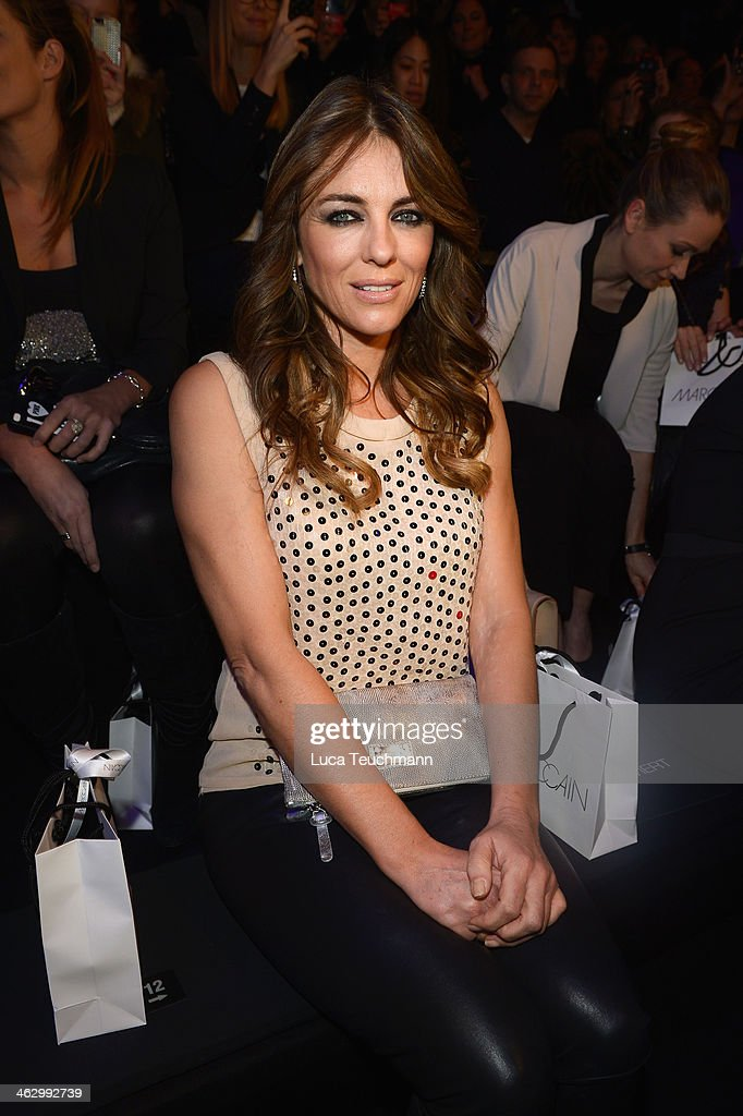 <a gi-track='captionPersonalityLinkClicked' href=/galleries/search?phrase=Elizabeth+Hurley&family=editorial&specificpeople=201731 ng-click='$event.stopPropagation()'>Elizabeth Hurley</a> attends the Marc Cain show during Mercedes-Benz Fashion Week Autumn/Winter 2014/15 at Brandenburg Gate on January 16, 2014 in Berlin, Germany.