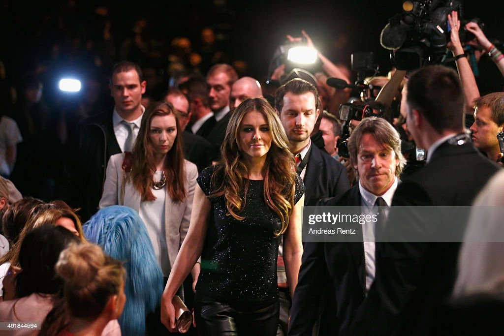 Elizabeth Hurley attends the Marc Cain show during the MercedesBenz Fashion Week Berlin Autumn/Winter 2015/16 at Brandenburg Gate on January 20 2015...