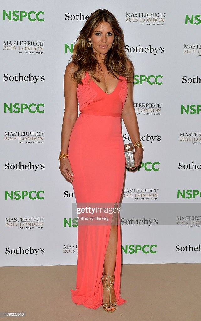 Elizabeth Hurley attends the NSPCC NeoRomantic Art Gala at Masterpiece London on June 30 2015 in London England