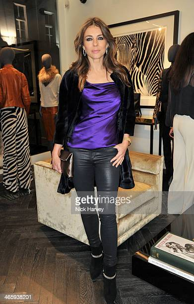 Elizabeth Hurley attends the opening of the new Amanda Wakeley store on January 30 2014 in London England