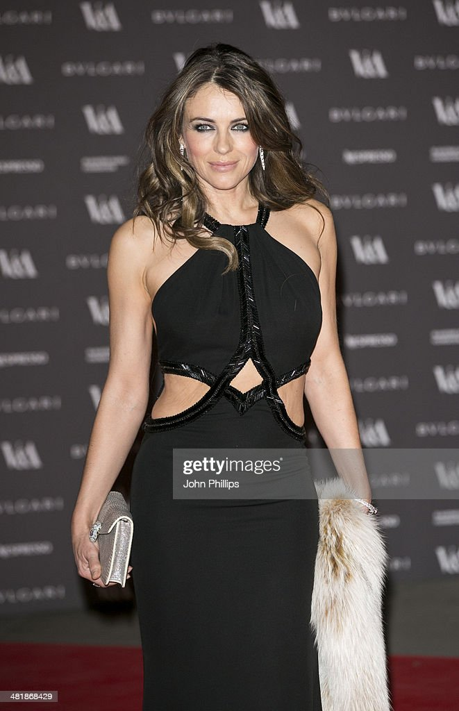 Elizabeth Hurley attends the preview of The Glamour of Italian Fashion exhibition at Victoria & Albert Museum on April 1, 2014 in London, England.