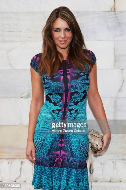 Elizabeth Hurley attends the Roberto Cavalli Spring/Summer 2013 fashion show as part of Milan Womenswear Fashion Week on September 24 2012 in Milan...
