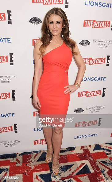 Elizabeth Hurley attends the 'The Royals' UK premiere party at the Mandarin Oriental Hyde Park on March 24 2015 in London England 'The Royals' starts...
