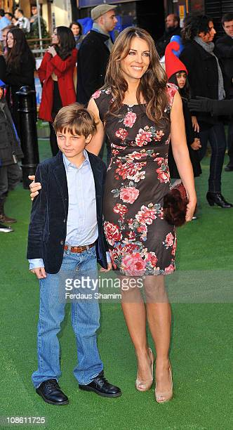 Elizabeth Hurley attends the UK premiere of 'Gnomeo Juliet' at Odeon Leicester Square on January 30 2011 in London England