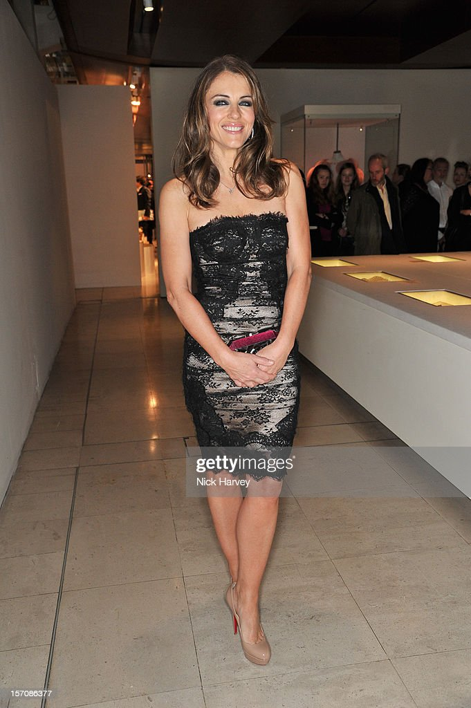 Elizabeth Hurley attends the VIP view of Valentino: Master of Couture at Embankment Gallery on November 28, 2012 in London, England.