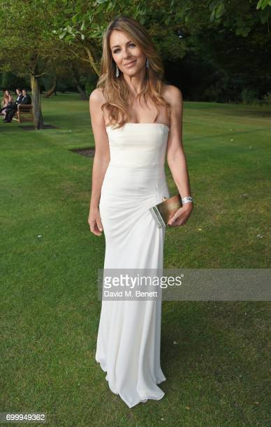 Elizabeth Hurley attends the Woodside Gallery Dinner in benefit of Elton John AIDS Foundation in partnership with BVLGARI at Woodside on June 22 2017...