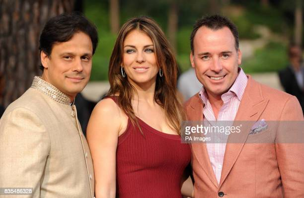 Elizabeth Hurley David Furnish and Arun Nayar during the Fashion Show at The Amber Lounge Le Meridien Beach Plaza Hotel Monaco