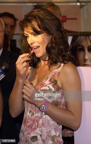 Elizabeth Hurley during Elizabeth Hurley Launches Estee Lauder's Elizabeth Pink Lipstick at Saks Fifth Avenue to Benefit Breast Cancer Awareness...