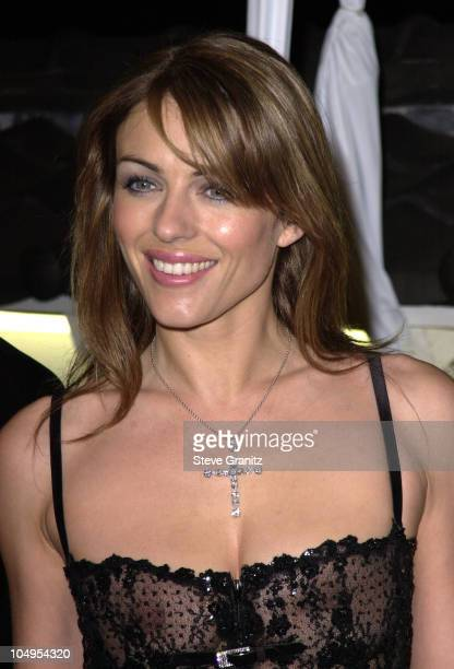 Elizabeth Hurley during WWD's first 'BlackWhite and Diamonds' PreOscar fashion bash at Temple Restaurant in Beverly Hills California United States