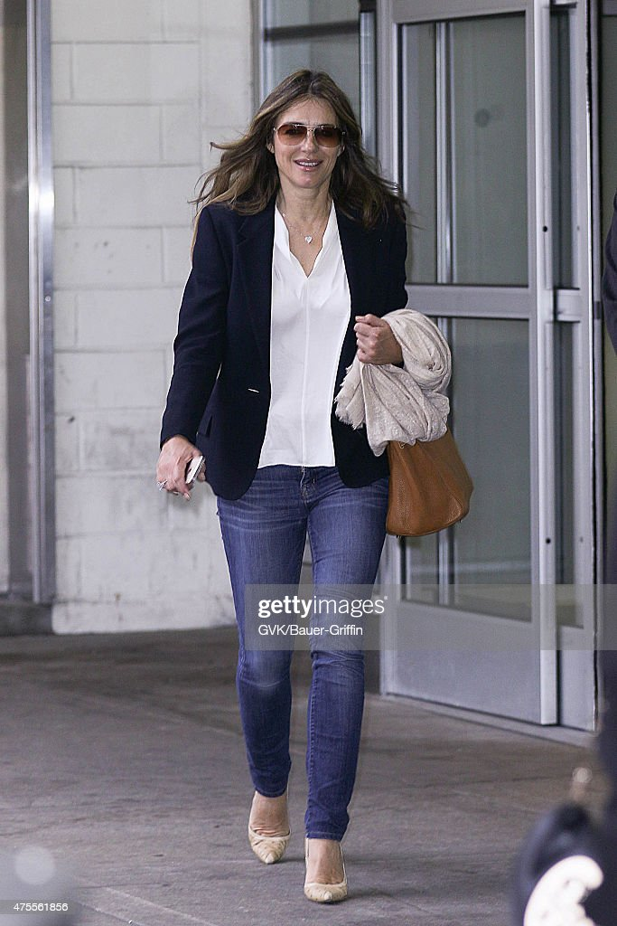 Elizabeth Hurley is seen at JFK on June 01 2015 in New York City