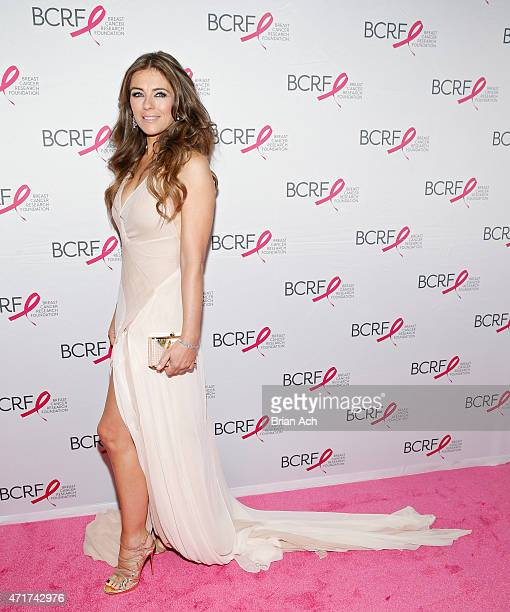 Elizabeth Hurley is seen during the The Breast Cancer Research Foundation 2015 Pink Carpet Party at The WaldorfAstoria on April 30 2015 in New York...