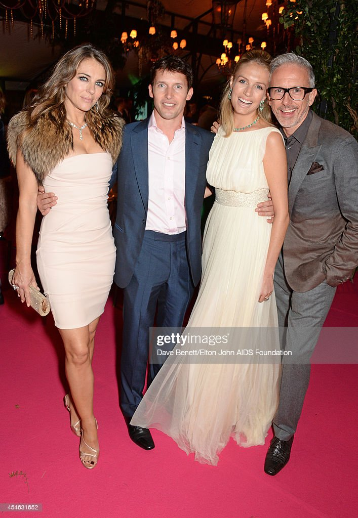 APPLIES Elizabeth Hurley James Blunt Sofia Wellesley and Patrick Cox attend the Woodside End of Summer party to benefit the Elton John AIDS...