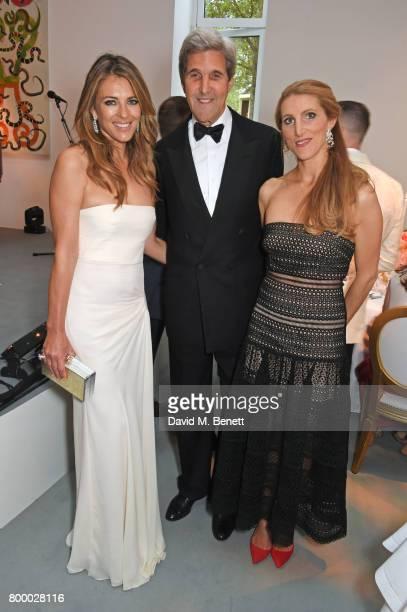 Elizabeth Hurley John Kerry and Vanessa Bradford Kerry attend the Woodside Gallery Dinner in benefit of Elton John AIDS Foundation in partnership...