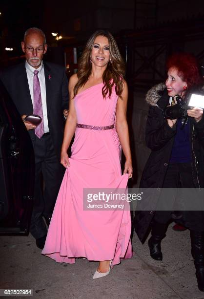 Elizabeth Hurley leaves the 2017 Breast Cancer Research Foundation Hot Pink Party at Park Avenue Armory on May 12 2017 in New York City
