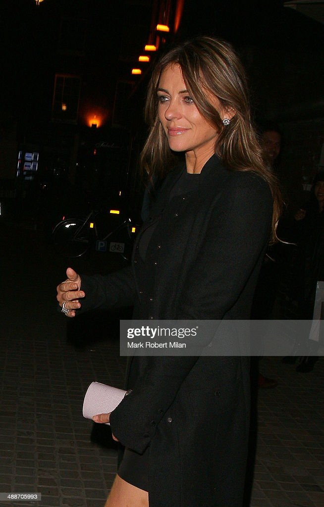 <a gi-track='captionPersonalityLinkClicked' href=/galleries/search?phrase=Elizabeth+Hurley&family=editorial&specificpeople=201731 ng-click='$event.stopPropagation()'>Elizabeth Hurley</a> leaving the Chiltern Firehouse on May 7, 2014 in London, England.