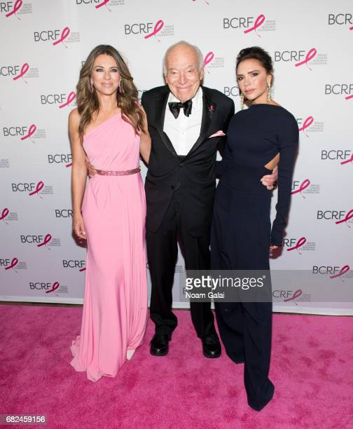 Elizabeth Hurley Leonard Lauder and Victoria Beckham attend the 2017 Breast Cancer Research Foundation Hot Pink Party at Park Avenue Armory on May 12...