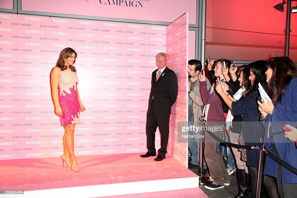 <a gi-track='captionPersonalityLinkClicked' href=/galleries/search?phrase=Elizabeth+Hurley&family=editorial&specificpeople=201731 ng-click='$event.stopPropagation()'>Elizabeth Hurley</a> lights Selfridges, Exchange Square pink in support of the Estee Lauder Companies Breast Cancer Awareness Campaign at Selfridges on October 11, 2012 in Manchester, England.