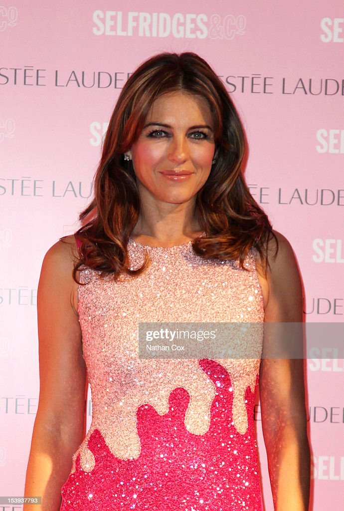 Elizabeth Hurley lights Selfridges, Exchange Square pink in support of the Estee Lauder Companies Breast Cancer Awareness Campaign at Selfridges on October 11, 2012 in Manchester, England.