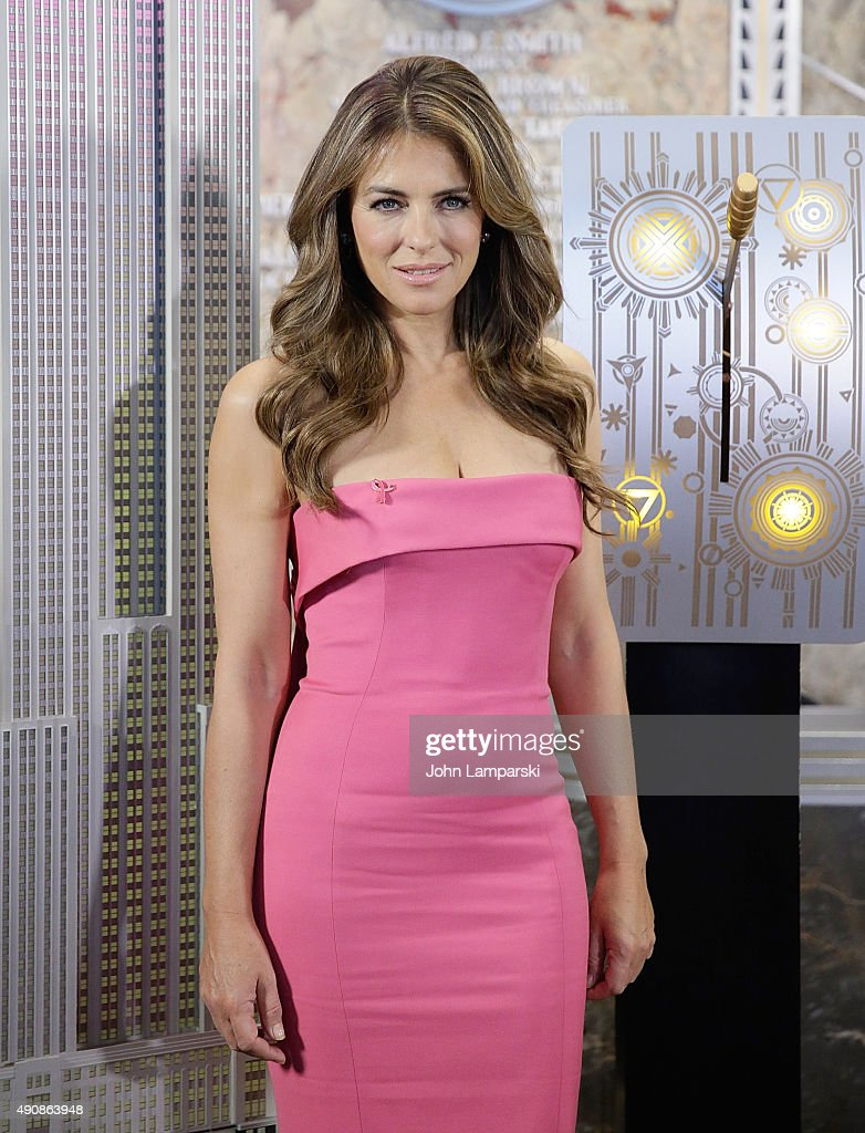 Elizabeth Hurley lights the Empire State Building Pink at The Empire State Building on October 1, 2015 in New York City.