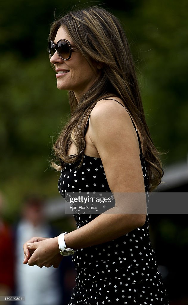 Elizabeth Hurley looks on during Shane Warne's Australia vs Michael Vaughan's England T20 match at Cirencester Cricket Club on June 09, 2013 in Cirencester, England.