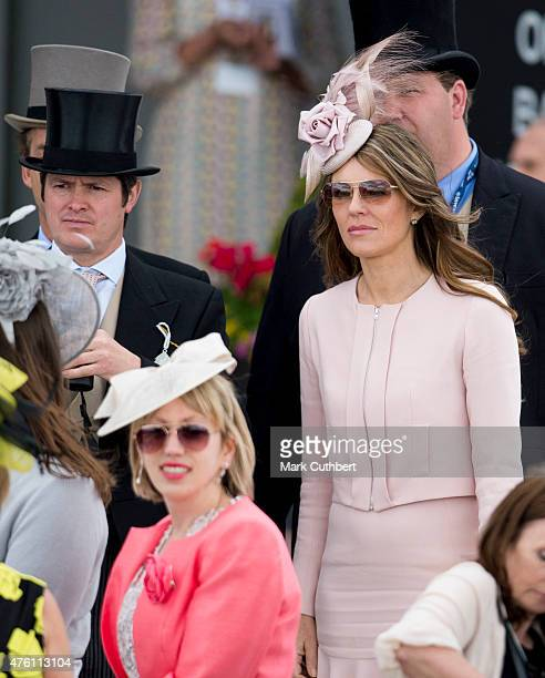 Elizabeth Hurley on Derby Day at Epsom Racecourse on June 6 2015 in Epsom England