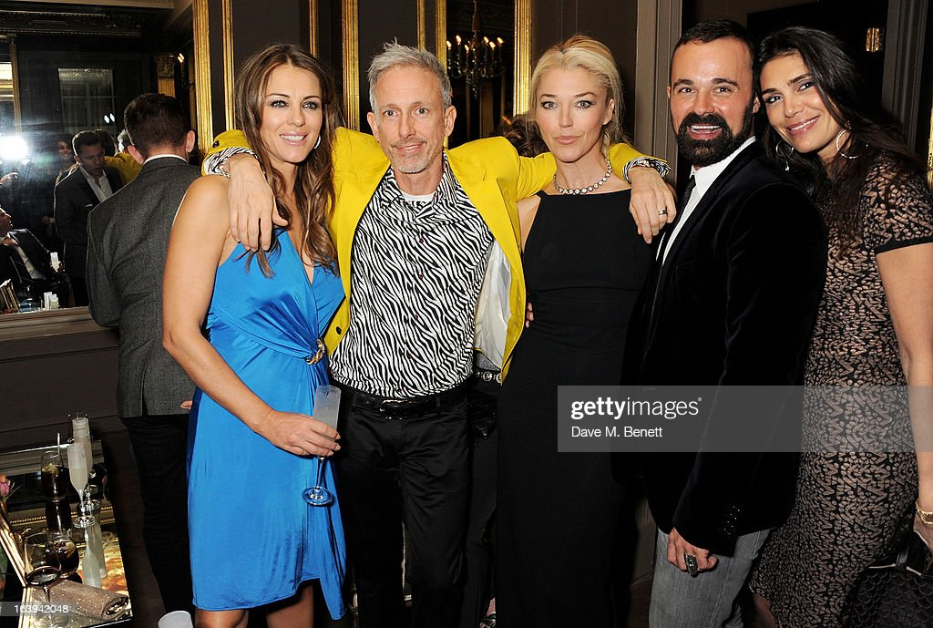 Elizabeth Hurley, Patrick Cox, Tamara Beckwith, Evgeny Lebedev and guest attend a party celebrating Patrick Cox's 50th Birthday party at Cafe Royal on March 15, 2013 in London, England.