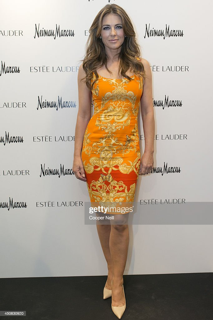 Elizabeth Hurley poses for a photo at Neiman Marcus NorthPark on June 18 2014 in Dallas Texas