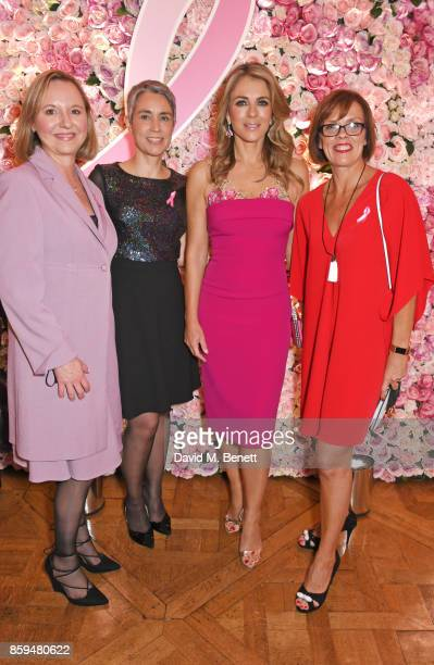 Elizabeth Hurley poses with Breast Cancer survivors Natalie Coombs Paula Beetlestone and Sally Broom attend the 25th Anniversary of the Estee Lauder...