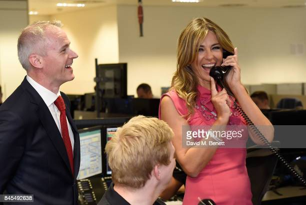 Elizabeth Hurley representing Walking With The Wounded/Wounded Veterans Fund makes a trade with BGC traders on September 11 2017 in Canary Wharf...