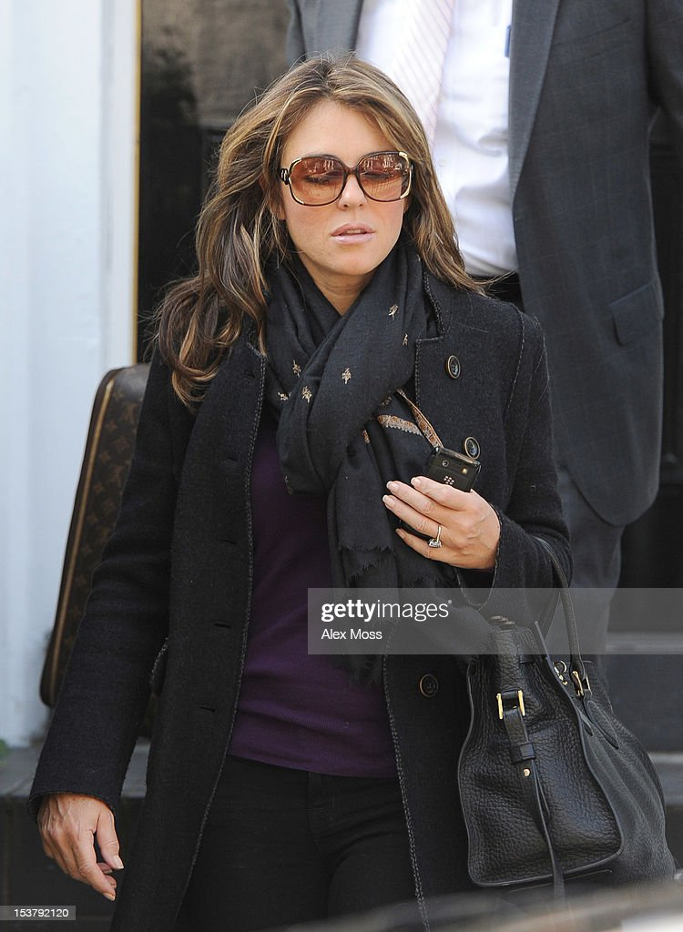 Elizabeth Hurley Seen Out In Chelsea on October 9, 2012 in London, England.