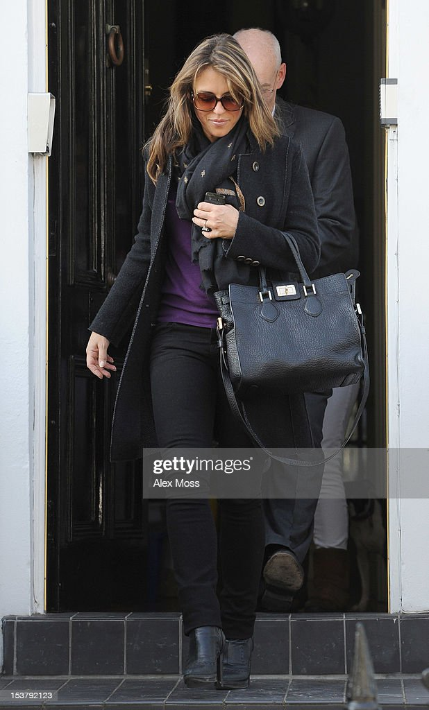 <a gi-track='captionPersonalityLinkClicked' href=/galleries/search?phrase=Elizabeth+Hurley&family=editorial&specificpeople=201731 ng-click='$event.stopPropagation()'>Elizabeth Hurley</a> Seen Out In Chelsea on October 9, 2012 in London, England.
