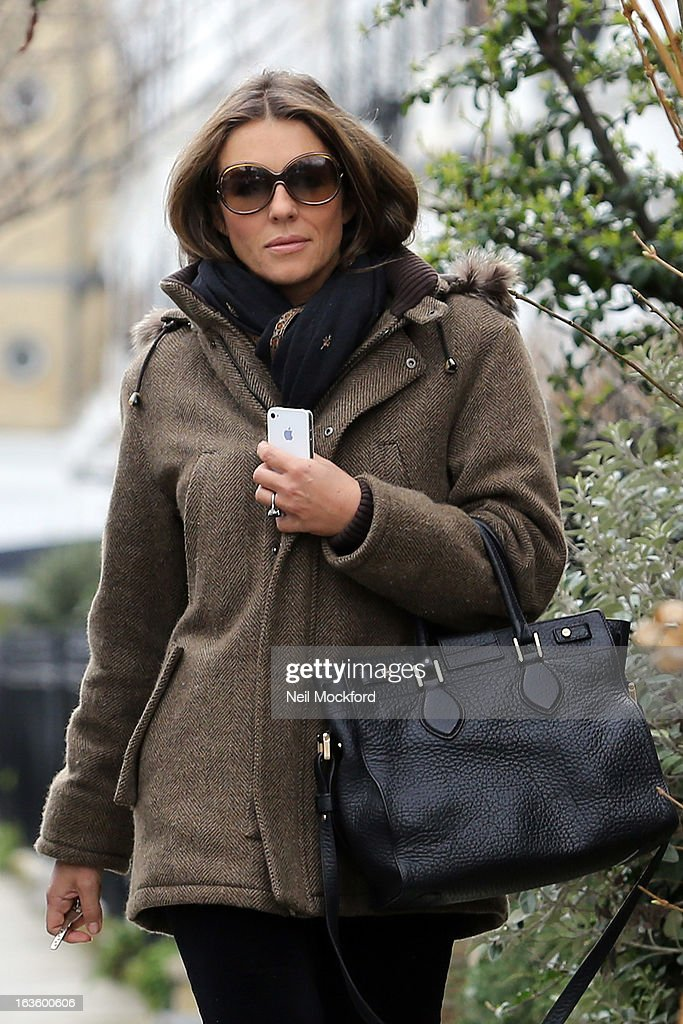 Elizabeth Hurley seen walking near her Fulham home on March 13, 2013 in London, England.