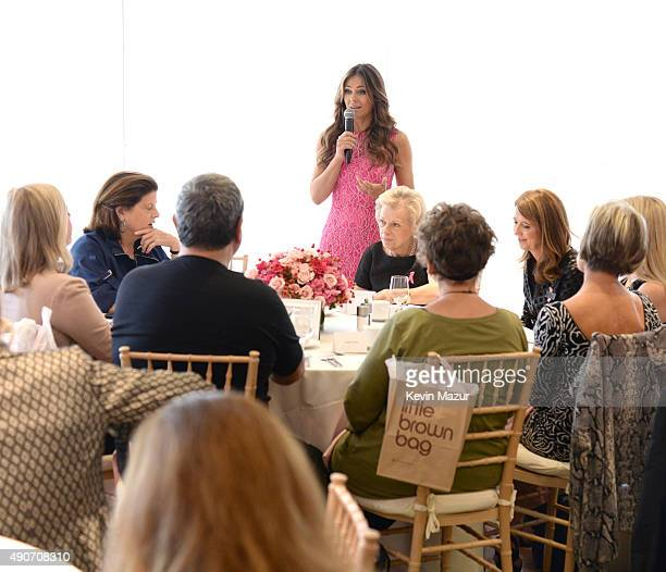 Elizabeth Hurley speaks during Bloomingdales's Kicks off Breast Cancer Awareness Month with Luncheon Hosted by The Estee Lauder Companies' Breast...