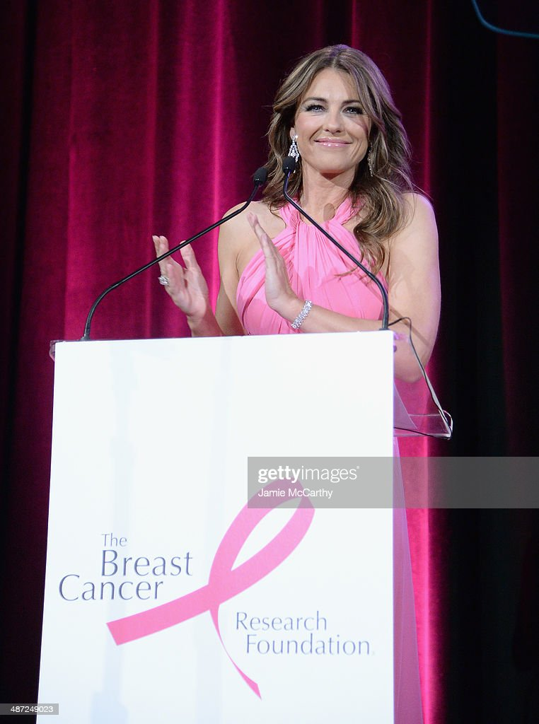 Elizabeth Hurley speaks onstage at The Breast Cancer Foundation's 2014 Hot Pink Party at Waldorf Astoria Hotel on April 28, 2014 in New York City.