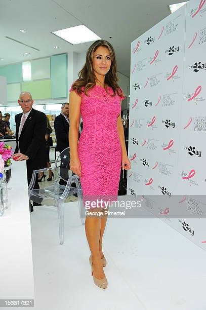 Elizabeth Hurley spokesmodel for the Estee Lauder Companies' Breast Cancer Awareness Campaign visits The Bay Queen Street on October 3 2012 in...