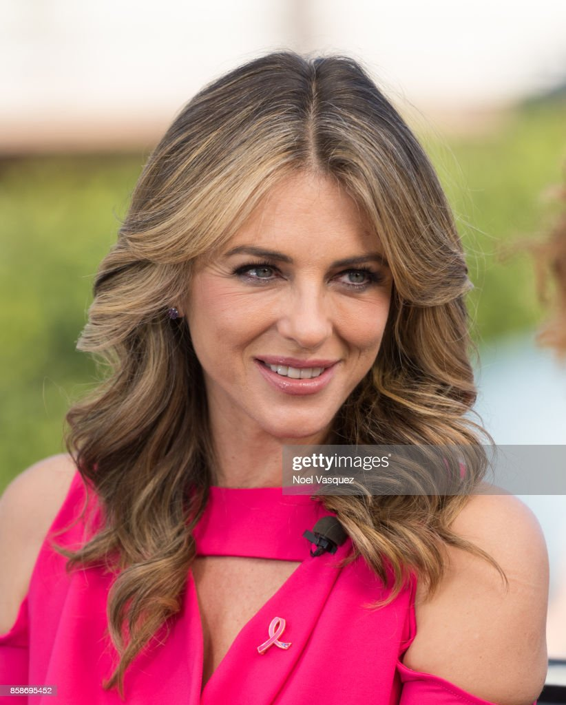 Elizabeth Hurley visits 'Extra' at Universal Studios Hollywood on October 5, 2017 in Universal City, California.