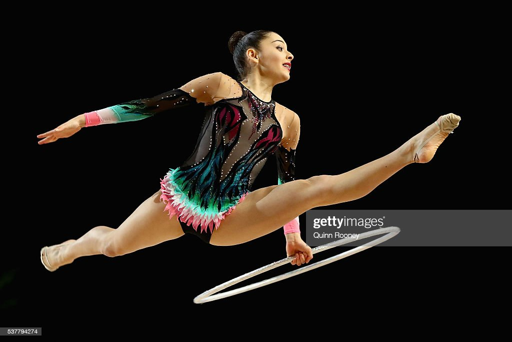 Elizabeth InabaHill of South Australia competes with the hoop in the rhythmic gymnastics during the 2016 Australian Gymnastics Championships at...