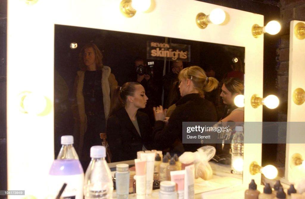 Elizabeth Jagger Gets Make Up, Julien Macdonald Fashion Show At The Roundhouse In Camden, London, London Fashion Week 2003