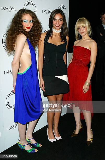 Elizabeth Jagger Ines Sastre and Mena Suvari during Lancome Colour Design Awards 2003 at Old Billingsgate Market London EC3 in London Great Britain